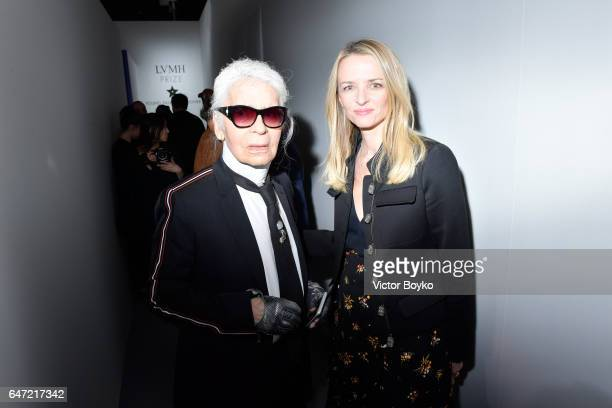 Karl Lagerfeld and Delphine Arnault attend the Cocktail Reception For The LVMH PRIZE 2017 on March 2 2017 in Paris France