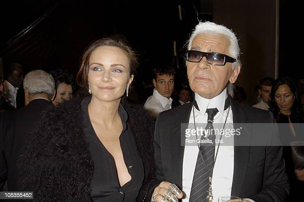 Karl Lagerfeld and Guest during Milan Fashion Week Spring 2005 Fendi Fashion Show Backstage in Milan Italy