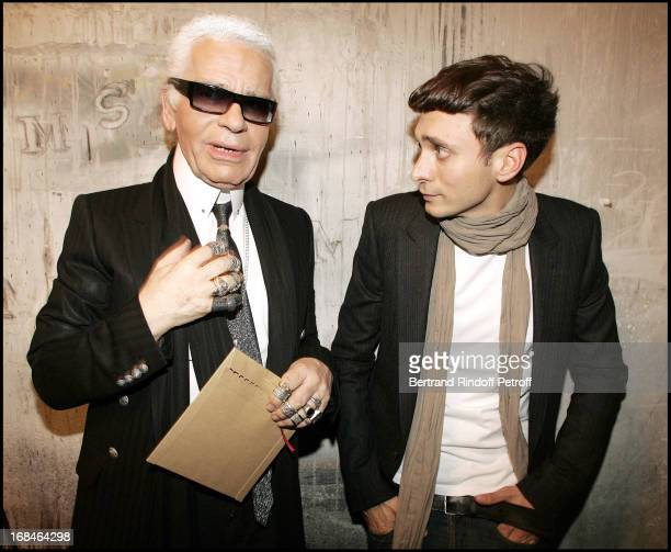 Karl Lagerfeld and Hedi Slimane at Dior Homme Men's Collection Fall/Winter 2005/2006