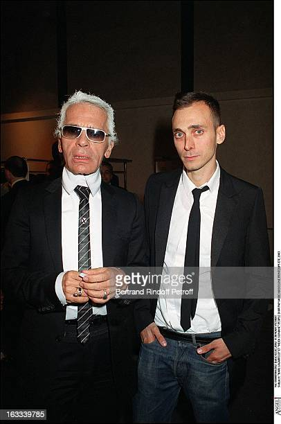 """Karl Lagerfeld and """"Hedi Slimane"""" people Dior ready to wear line man fashion spring summer 2003."""