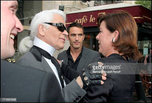 Karl Lagerfeld and HRH Princess Caroline of Hanovre Premiere of the play La Belle of the Monte Carlo Ballet at the Chatelet theater