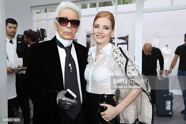 Karl Lagerfeld and Jessica Chastain attend the Chanel Haute Couture Fall/Winter 20162017 show as part of Paris Fashion Week on July 5 2016 in Paris...