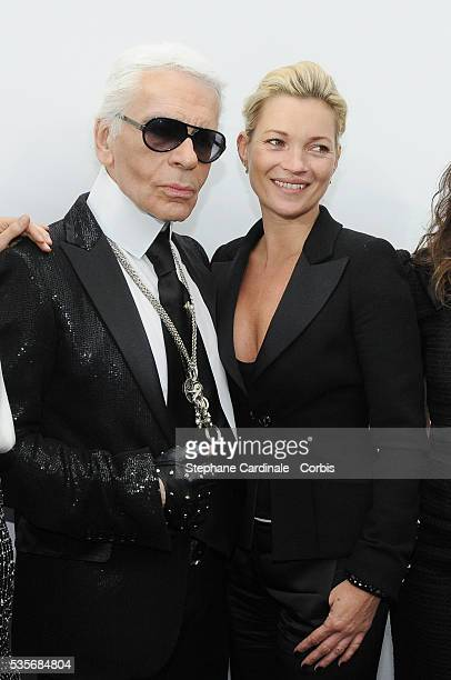 Karl Lagerfeld and Kate Moss attend the Chanel ReadytoWear A/W 2009/10 fashion show during Paris Fashion Week at Grand Palais in Paris