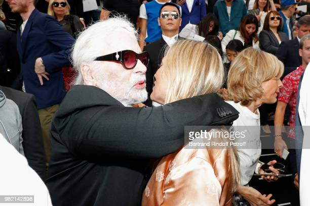 Karl Lagerfeld and Kate Moss attend the Dior Homme Menswear Spring/Summer 2019 show as part of Paris Fashion Week on June 23 2018 in Paris France