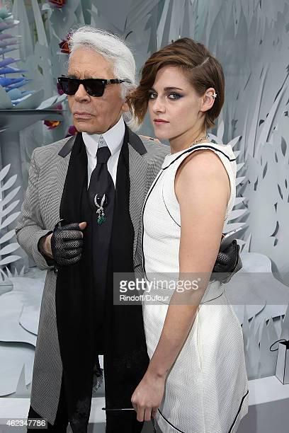 Karl Lagerfeld and Kristen Stewart attend the Chanel show as part of Paris Fashion Week Haute Couture Spring/Summer 2015 on January 27 2015 in Paris...