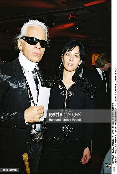 Karl Lagerfeld and Lady Amanda Harlech at the Fashion Against AIDS party
