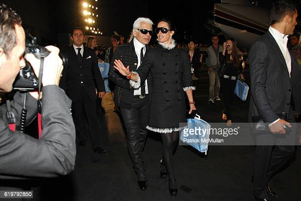 Karl Lagerfeld and Lady Amanda Harlech attend CHANEL Cruise Show LA Post Show at Santa Monica Airport on May 18 2007 in Santa Monica CA