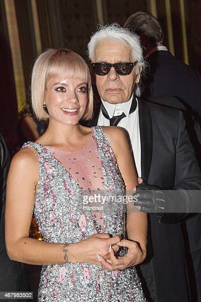 Karl Lagerfeld and Lily Allen attend the Rose Ball 2015 in aid of the Princess Grace Foundation at Sporting MonteCarlo on March 28 2015 in MonteCarlo...