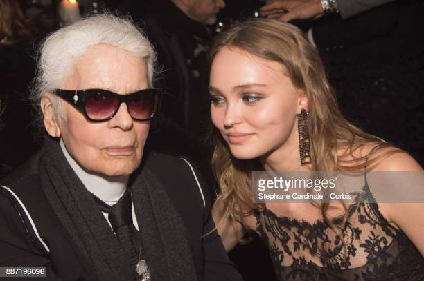 Karl Lagerfeld and Lily Rose Depp attend the Chanel Collection Metiers d'Art Paris Hamburg 2017/18 Party on December 6 2017 in Hamburg Germany