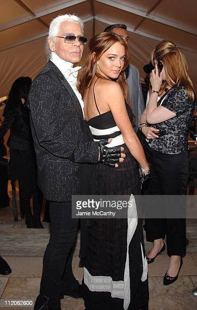 Karl Lagerfeld and Lindsay Lohan during 2006 CFDA Awards Red Carpet at New York Public Library in New York City New York United States