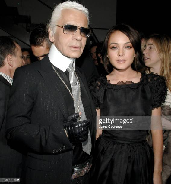 Karl Lagerfeld and Lindsay Lohan during Fendi New York City Flagship Store Opening Inside at Fendi Flagship Store in New York City New York United...