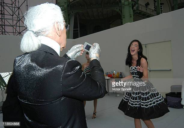Karl Lagerfeld and Mariacarla Boscono backstage at Chanel Spring/Summer 2006
