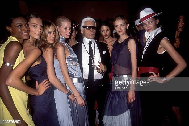 Karl Lagerfeld and Models during Paris Fashion Week Ready To Wear Spring/Summer 2005 Lagerfeld Gallery Backstage at Carrousel Du Louvre in Paris...