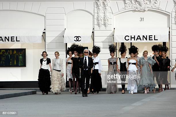 Karl Lagerfeld and models walk down the runway during the Chanel PFW Spring Summer 2009 show at Paris Fashion Week 2008 at Grand Palais on October 3...