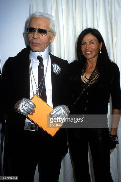 Karl Lagerfeld and Mouna Ayoub at the Departure Ateliers Berthier in Paris France