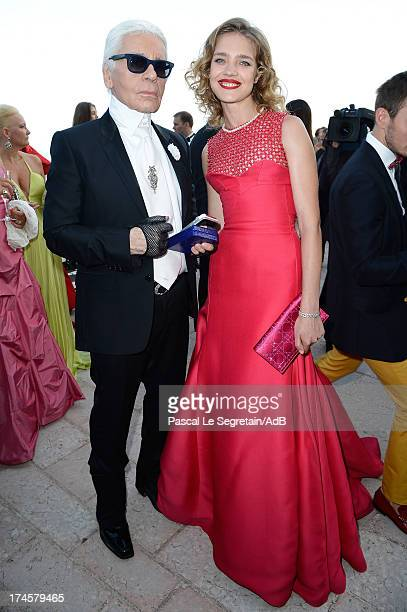 Karl Lagerfeld and Natalia Vodianova attend the cocktail at the 'Love Ball' hosted by Natalia Vodianova in support of The Naked Heart Foundation at...