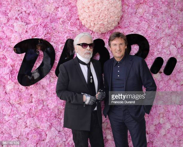 Karl Lagerfeld and Pietro Beccari attend the Dior Homme Menswear Spring/Summer 2019 show as part of Paris Fashion Week on June 23 2018 in Paris France