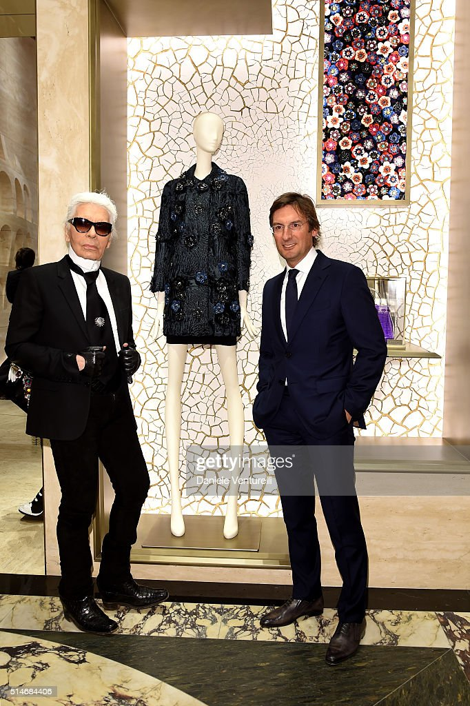 Karl Lagerfeld and Pietro Beccari attends Palazzo FENDI And ZUMA Inauguration on March 10, 2016 in Rome, Italy.