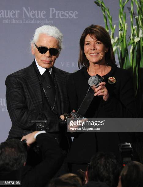 Karl Lagerfeld and Princess Caroline of Hannover attend the 'Menschen in Europa' Charity Award at the Media Centre Passau on December 12 2011 in...