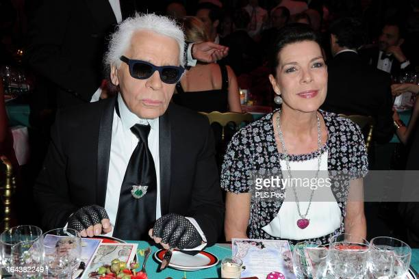 Karl Lagerfeld and Princess Caroline of Hanover attend the 'Bal De La Rose Du Rocher' in aid of the Fondation Princess Grace on the 150th Anniversary...