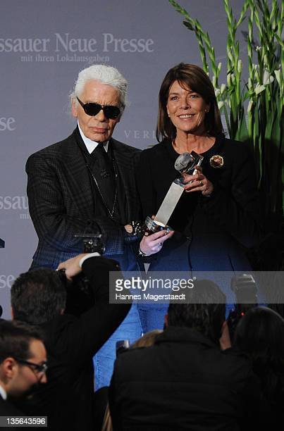 Karl Lagerfeld and Princess Caroline of Hanover attend the 'Menschen in Europa' Charity Award at the Media Centre Passau on December 12 2011 in...