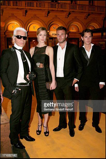 Karl Lagerfeld and Rachel Zimmermann and Brad Koenig and Juke Davis Dinner at the Fendi Palazzo in Rome for the launch of the new perfume Palazzo