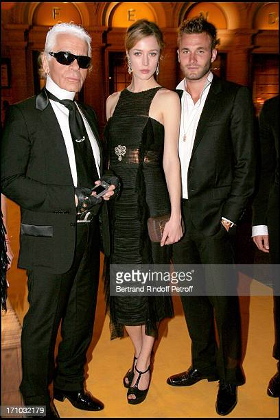 Karl Lagerfeld and Rachel Zimmermann and Brad Koenig Dinner at the Fendi Palazzo in Rome for the launch of the new perfume Palazzo