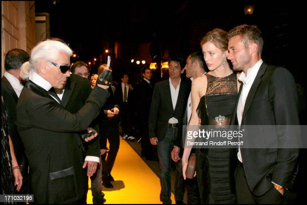 Karl Lagerfeld and Rachel Zimmermann and Brad Kroenig Dinner at the Fendi Palazzo in Rome for the launch of the new perfume Palazzo