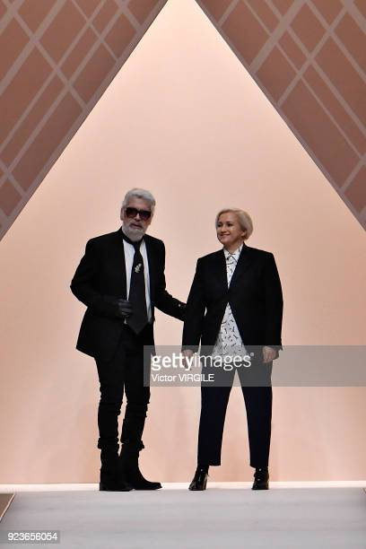 Karl Lagerfeld and Silvia Fendi walk the runway at the Fendi Ready to Wear Fall/Winter 20182019 fashion show during Milan Fashion Week Fall/Winter...
