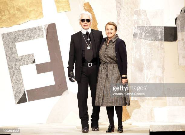 Karl Lagerfeld and Silvia Venturini Fendi aknowledge the applause of the public after the Fendi Fashion Show as part of Milan Fashion Week Womenswear...