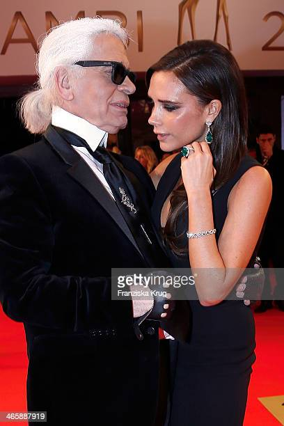 Karl Lagerfeld and Victoria Beckham attend the Bambi Awards 2013 at Stage Theater on November 14 2013 in Berlin Germany