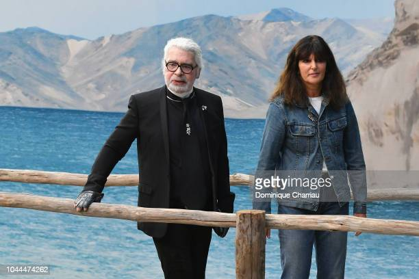 Karl Lagerfeld and Virginie Viard walks the runway after the Chanel show as part of the Paris Fashion Week Womenswear Spring/Summer 2019 on October 2...