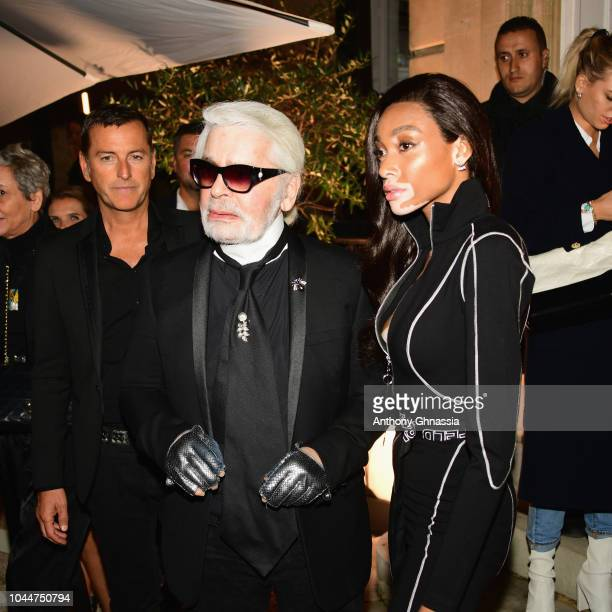 Karl Lagerfeld and Winnie Harlow celebrate the launch of the Karl x Kaia collaboration capsule collection on October 2 2018 in Paris France