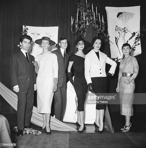 Karl LAGERFELD and Yves SAINT LAURENT unknown at that time won a first prizeat a fashion design show organized by the International Wool Secretary in...
