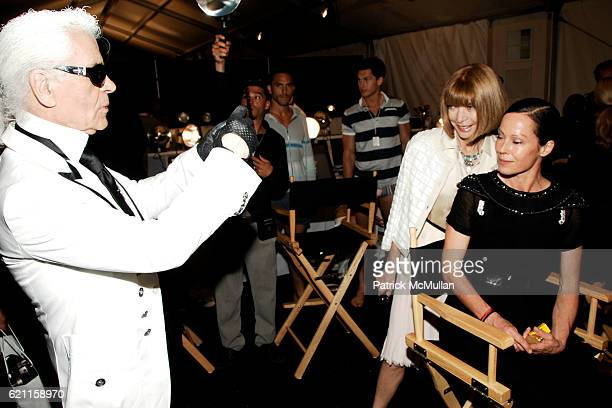 Karl Lagerfeld Anna Wintour and Lady Amanda Harlech attend CHANEL 2008 Cruise Collection Backstage at The Raleigh Hotel on May 15 2008 in Miami Beach...