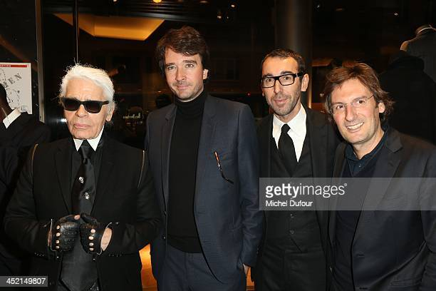 Karl Lagerfeld Antoine Arnault Alessandro Sartori and Pietro Beccari attend the Berluti Flagship Store Opening on November 26 2013 in Paris France