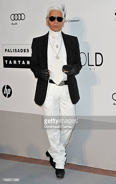 Karl Lagerfeld arrives at amfAR's Cinema Against AIDS 2010 benefit gala at the Hotel du Cap on May 20 2010 in Antibes France