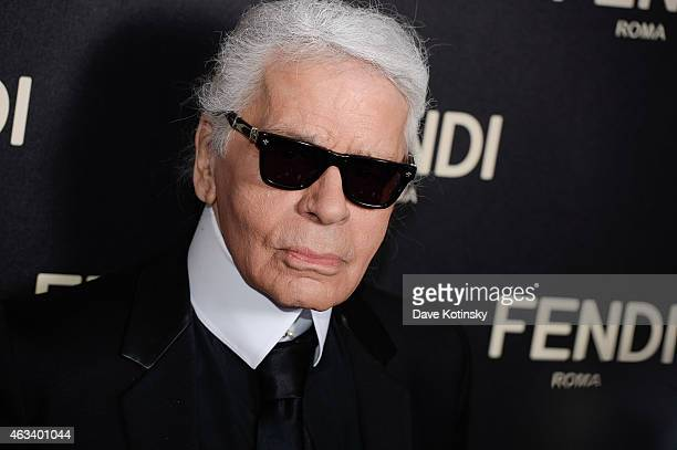 Karl Lagerfeld arrives at the Fendi New York Flagship Boutique Inauguration Party MercedesBenz Fashion Week Fall 2015 at Fendi 5th Avenue Boutique on...