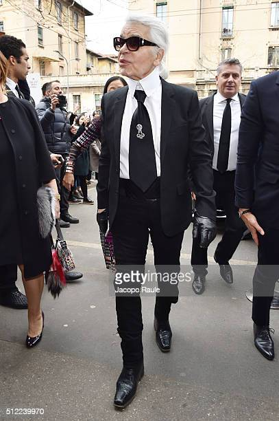 Karl Lagerfeld arrives at the Fendi show during Milan Fashion Week Fall/Winter 2016/17 on February 25 2016 in Milan Italy