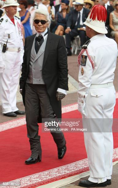 Karl Lagerfeld arrives at the Place du Palais Monte Carlo for the religious ceremony of the wedding of Charlene Wittstock to Prince Albert II of...