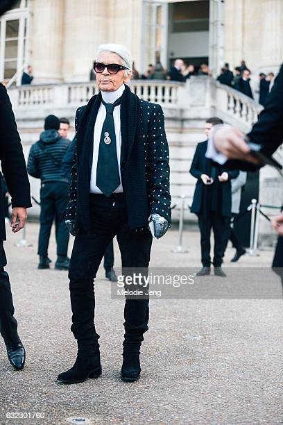 Karl Lagerfeld at the Dior Homme show at Grand Palais on January 21 2017 in Paris France