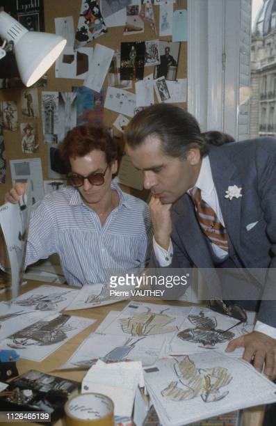 Karl Lagerfeld at work at Chloe's Paris studio