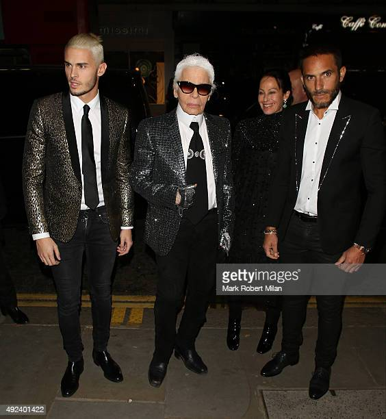 Karl Lagerfeld attending the Chanel Exhibition Party at the Saatchi Gallery on October 12 2015 in London England