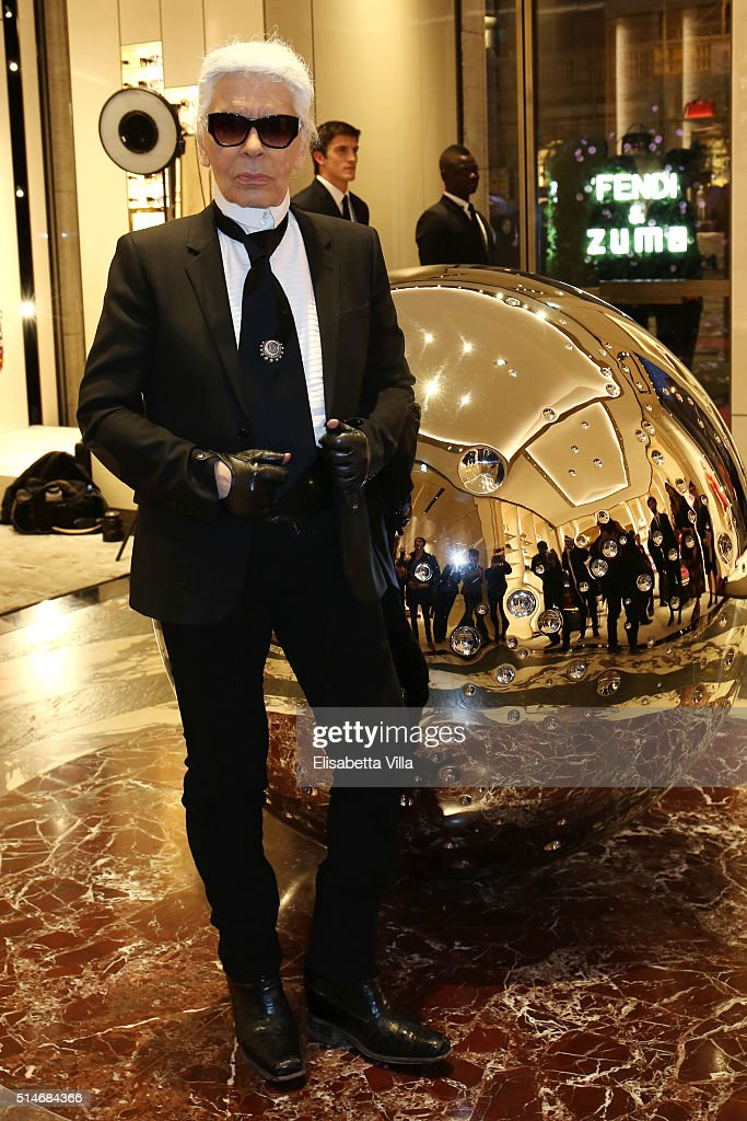 Karl Lagerfeld attends Palazzo FENDI And ZUMA Inauguration on March 10, 2016 in Rome, Italy.
