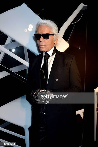 Karl Lagerfeld attends the 'Cassina by Karl Lagerfeld' Photo Exhibition Preview at Cassina Shop Saint Germain on January 31 2013 in Paris France