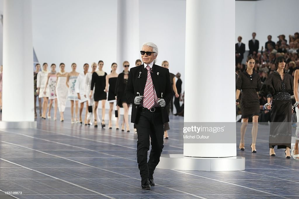 Karl Lagerfeld attends the Chanel Spring / Summer 2013 show as part of Paris Fashion Week at Grand Palais on October 2, 2012 in Paris, France.