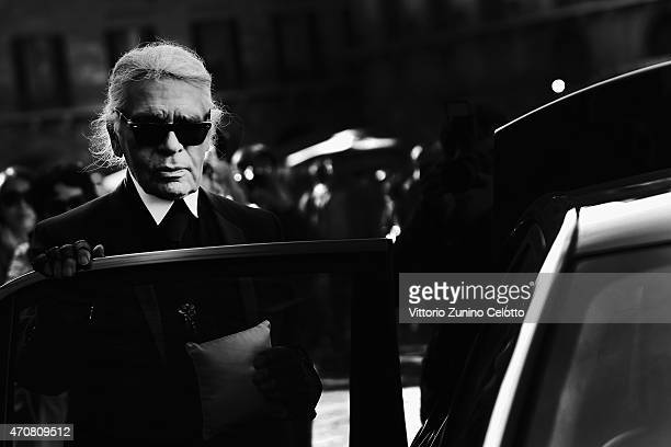 Karl Lagerfeld attends the Conde' Nast International Luxury Conference at Palazzo Vecchio on April 22 2015 in Florence Italy