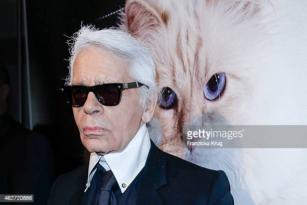 Karl Lagerfeld attends the 'Corsa Karl Und Choupette' Vernissage on February 03 2015 in Berlin Germany