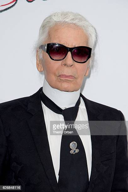Karl Lagerfeld attends the diner 'sauver la vie' Eric Pfrunder Hosts 'Sauver La Vie' Diner for Paris Descartes Fondation at Pavillon Ledoyen on...