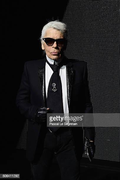 Karl Lagerfeld attends the Dior Homme Menswear Fall/Winter 20162017 show as part of Paris Fashion Week on January 23 2016 in Paris France